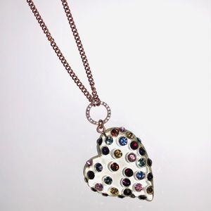 Betsey Johnson crystal heart necklace 💜💛❤️